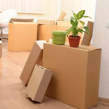 boxes neatly piled on moving day