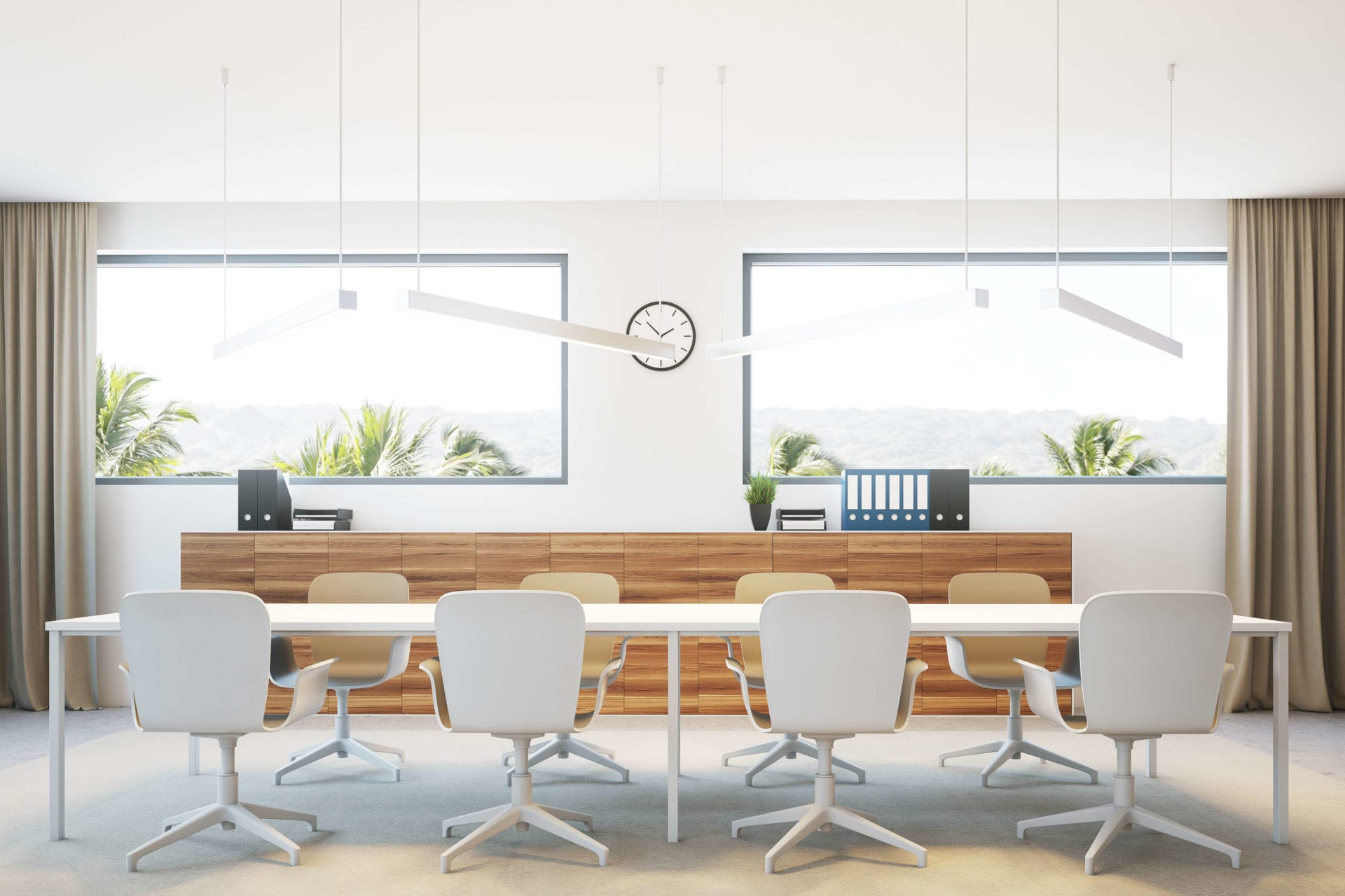 Clean Minimal conference room with white table and chairs modern overhead lighting