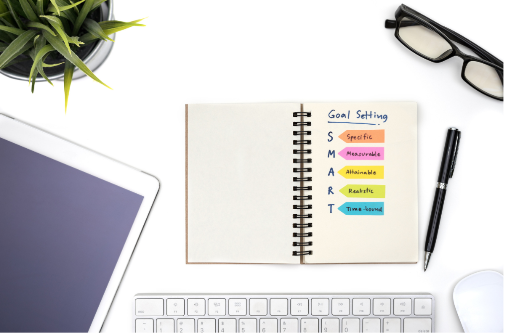 SMART goals description written on notepad with a desk scene