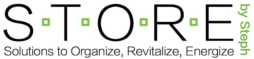 Solutions to organize revitalize energize STORE logo by Stephanie Boyd professional organizer