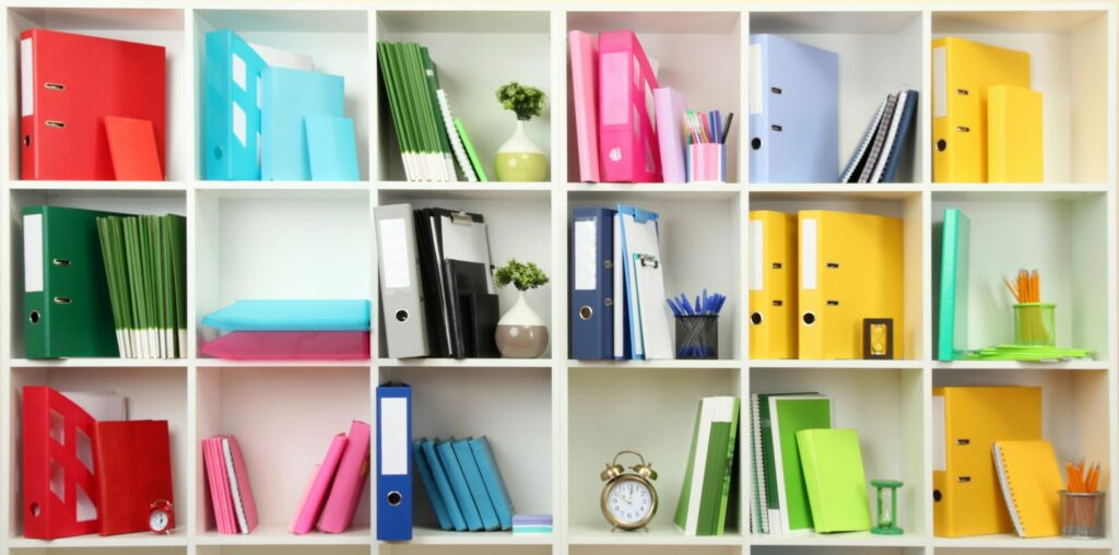 Colorful and organized books and files